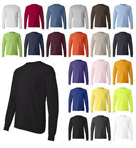 Hanes-Brand-NEW-6-oz-100-Cotton-Long-Sleeve-T-Shirt-Mens-S-3XL-Tagless-Tee