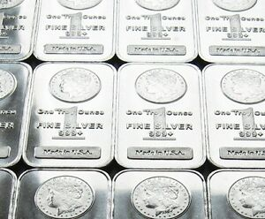 5-x-1oz-SILVER-BARS-MORGAN-DOLLAR-DESIGN-999-NEW-amp-SEALED-IN-PLASTIC