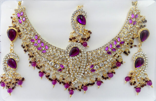 Indian Bollywood Costume Kundan Diamante Necklace Set Fashion Jewelry T9020