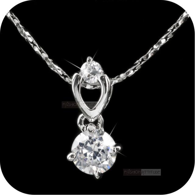 18k white gold gp made with SWAROVSKI crystal round pendant necklace
