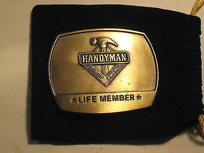 HANDY MAN  collectable solid brass belt buckle