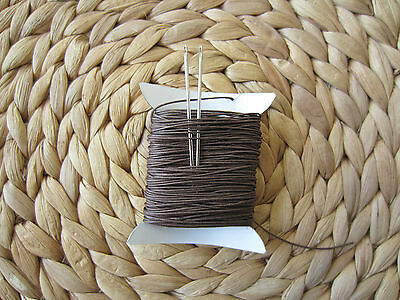 STRONG NATURAL LINEN LEATHER SEWING THREAD FOR HAND STITCHING + 2 NEEDLES  18/4