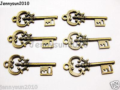 10Pcs 2 Sided Vintage Large Skeleton Antique Bronze Key Charm Pendant Beads