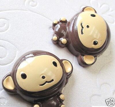 "US SELLER - 10 x (1 1/8"") Resin Monkey Flatback Beads for Hair Bows/Cards SB334"