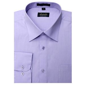 Details about mens dress shirt plain lavender modern fit wrinkle free