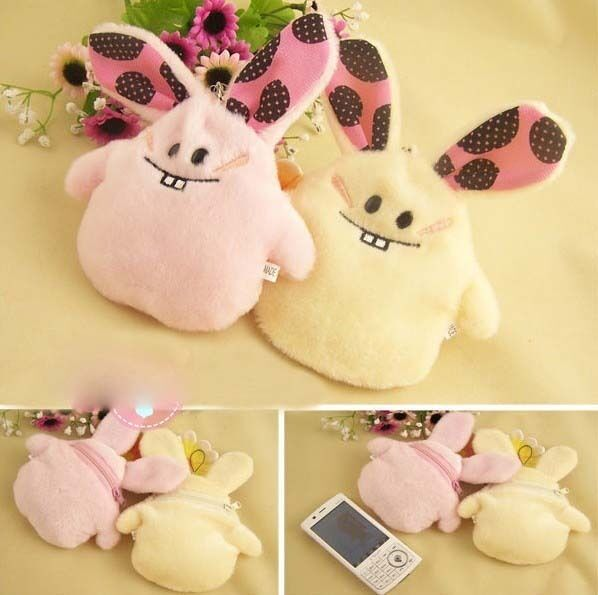 Cute Bucktooth Rabbit Coin Change Purse made of Flannelette Cell phone case E649