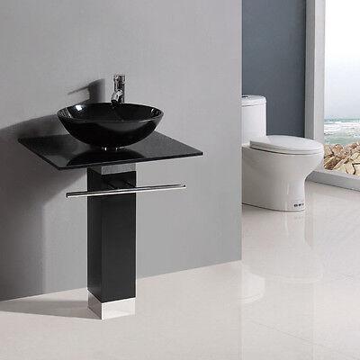 """BLACK SERIES 23"""" Bathroom Tempered Glass Vessel Sink Vanity w/ 12"""" faucet XD25B"""