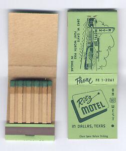Ritz-Motel-Hwy-80-West-Oak-Cliff-Dallas-Texas-1950s-Matchbook-Green-Matches-MINT