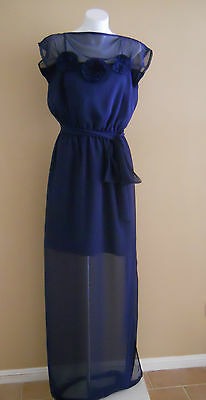 VINTAGE HARAH DESIGNS NAVY CHIFFON FULL LENGTH SLEEVELESS DRESS 6-8-10-12-14-16
