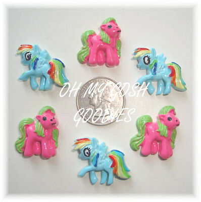 6PC MY LITTLE LIL PONY HORSE FLATBACK RESINS 4 HAIRBOW BOW CENTER PINK BLUE