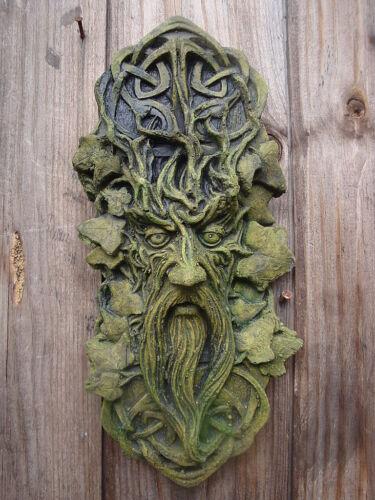 Celtic Green man decorative wall plaque stone home garden ornament