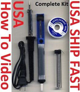 Soldering-Iron-Gun-Rosin-Core-Solder-Wire-Desoldering-Pump-Braid-Wick-60-Watts