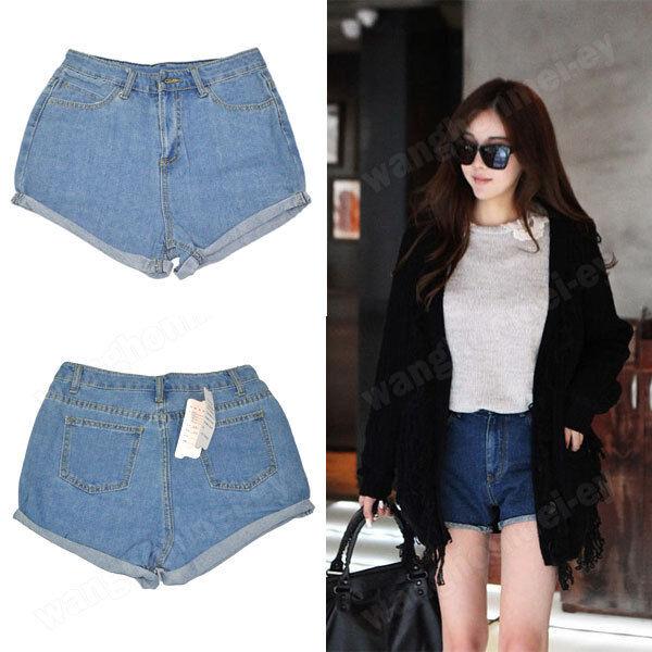 Women Retro Lady's Girls Denim High Waist Flange Blue Jean Shorts Hot Pants