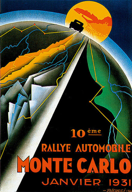 Art Poster Monte Carlo Rally  1931 France  Car Deco Print