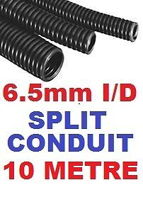 6.5MM SPLIT CONVOLUTED CONDUIT SLEEVE TUBE CABLE 7MM WIRE HARNESS 10 METRES 10M.