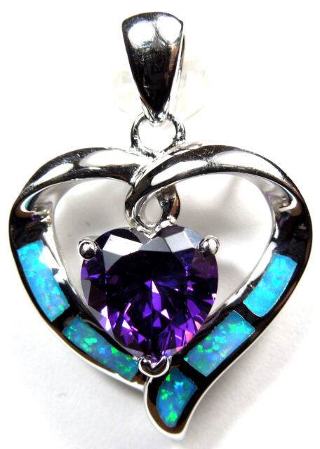Amethyst & Blue Fire Opal Inlay 925 Sterling Silver Heart Pendant For Necklace