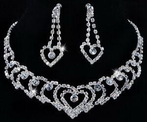 W21978-Heart-Expand-Czech-Rhinestone-Crystal-Clear-Necklace-Earrings-Bridal-1Set