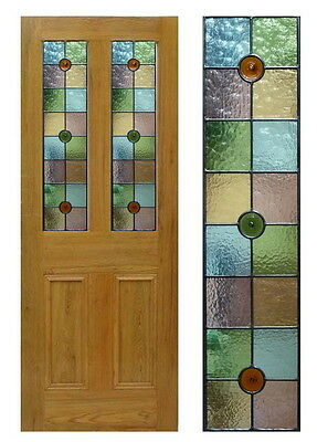 1 pair of Stained Glass  Panels with 3 Glass Roundels
