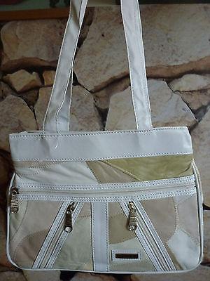 Damen ECHT LEDER Hand Henkel Schulter Tasche Handtasche weiß beige braun - NEU