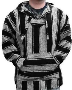 Hoodie-Baja-Hippie-Surfer-Mexican-Poncho-Sweater-Size-XL-Assorted-Colors