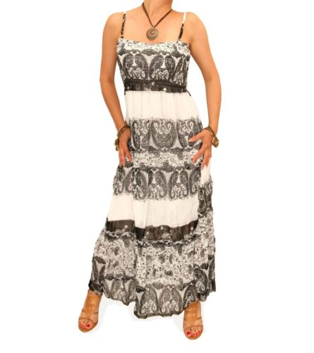 New Black and White Gypsy Style Maxi Dress