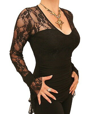 New Black Lace Bell Cuff Clingy Top - Long Sleeve