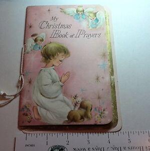 #B398- Vintage Hallmark Xmas Greeting Book Of Prayers Card Angels & Gold, 1960