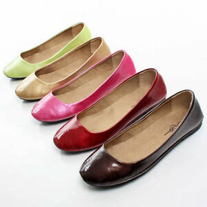 Casual-Slip-On-Shoes-Ladies-Dress-Patent-Ballerina-Slippers-Womens-Ballet-Flats