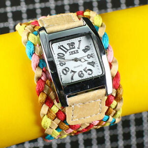 colourful-Candy-weaving-Braided-Strap-Rope-bracelet-Quartz-Wrist-Watch-Women