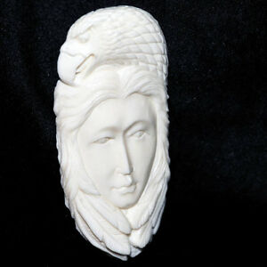 Carved-BONE-SPIRIT-Woman-EAGLE-Cabochon-2-3-4-71mm-Up-to-97-carats