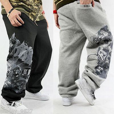 Nwt Mens Hip-Hop Sweatpants Track Pants Streetwear SkateBoarding Loose Trousers