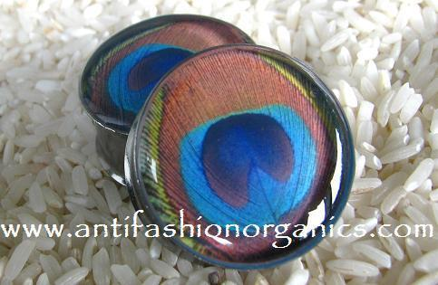 MADE TO ORDER Peacock Feather Picture Plugs gauges stretchers ear jewelry NEW
