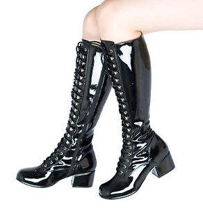 Black Patent Lace Up Knee High Combat Boots Retro Gogo Fetish ...