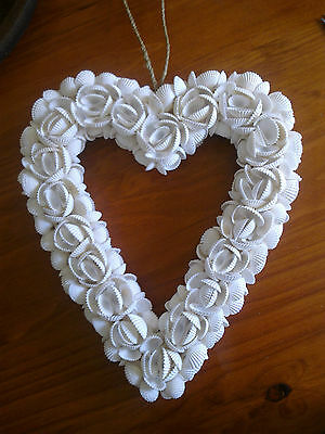 Balinese White Shell Heart Shaped Wreath Hand Crafted from Bali New - Gift Idea