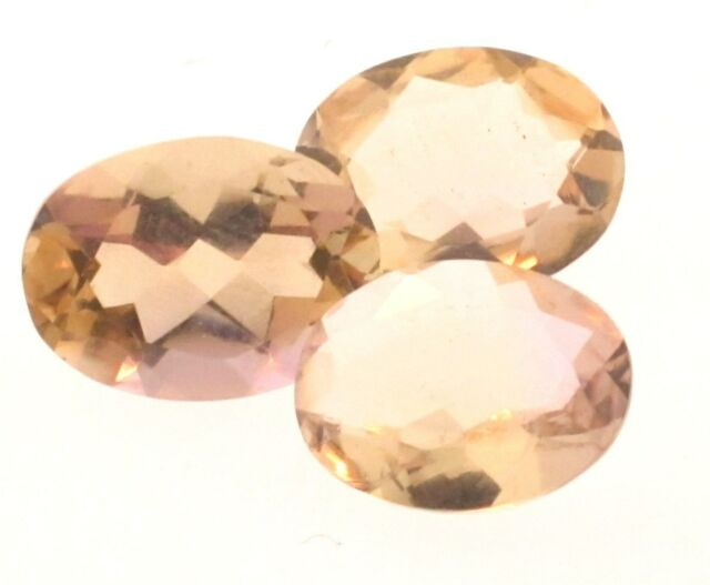 Bolivian Champagne Quartz 9x7 Oval 3 Stones 4.00cts only $8.99