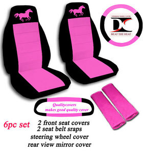6 piece set black and hot pink horse seat covers with accessories ebay. Black Bedroom Furniture Sets. Home Design Ideas