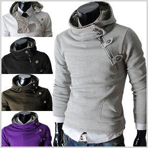 4BH-THELEES-MENS-casual-luxury-buckle-hoodie-slim-Fit-Long-sleeves-sweatshirts