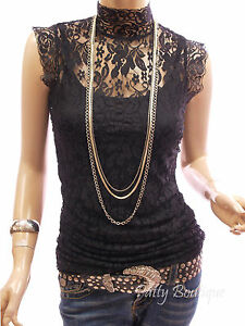 Beautiful-Black-Floral-Lace-Eyelet-Twinset-Turtleneck-Sleeveless-Blouse-Top