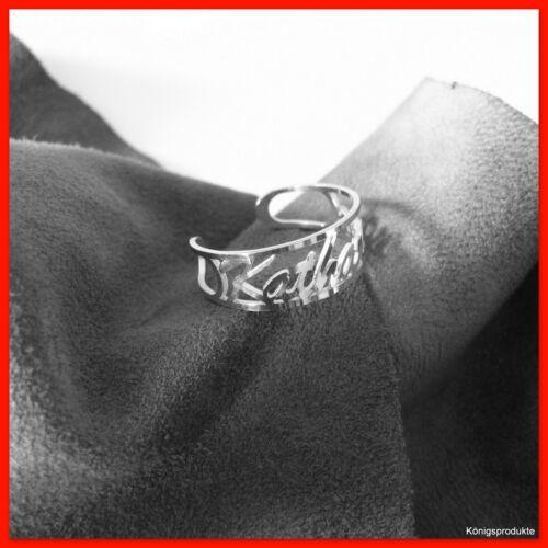 Wunsch Namensring 925er Silber, flexible Ringschiene passend für Gr: 52 bis 60,