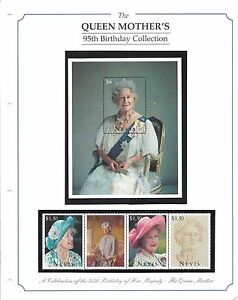 Stamps-The-Queen-Mother-039-s-95th-Birthday-Collection-Nevis