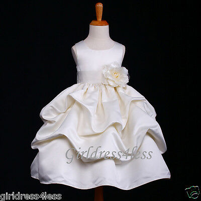 IVORY WEDDING PRINCESS PICK UP FLOWER GIRL DRESS 6M 12M 18M 2 4 6 8 9 10 11 12