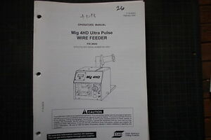 ESAB-MIG-4HD-WIRE-FEED-Welder-Parts-Service-Operator-Manual-repair-owner-welding