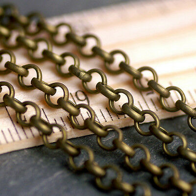 3.8x3.8mm Antique Bronze Plated Metal Chain Round Link Chains c209b (3ft)