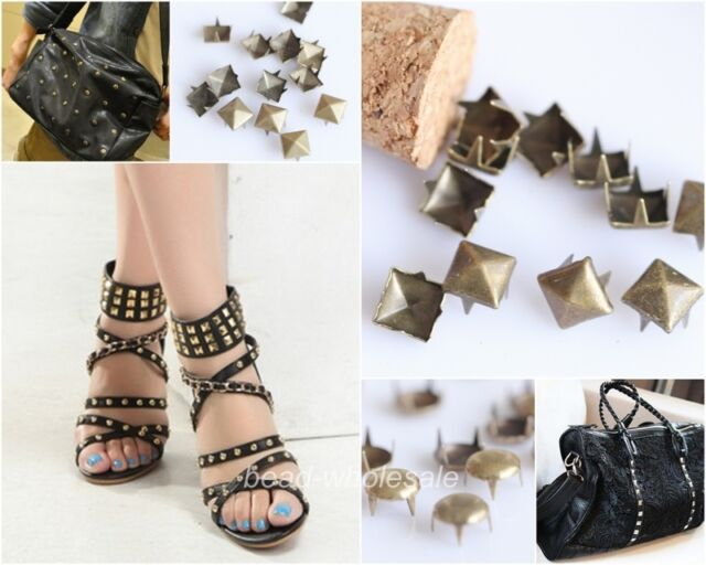 200pcs Antique Copper Round/Square Studs Rock Rivet Spike For Clothing/Shoes/Bag