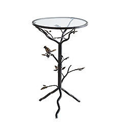 wrought iron bird branch round accent side end table glass top accewnt new. Black Bedroom Furniture Sets. Home Design Ideas