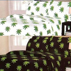 Pot-leaf-sheet-set-FULL-QUEEN-KING-marijuana-weed-420