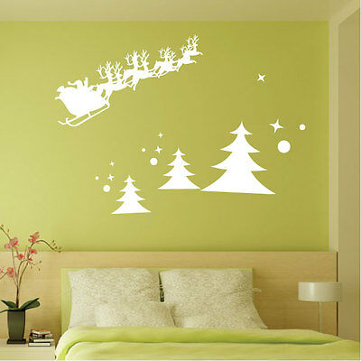 Christmas Tree Reindeer Santa Decorations Vinyl Wall Stickers / Wall Decals