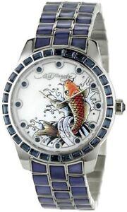 ED-HARDY-WOMEN-039-S-BELLA-KOI-FISH-SWAROVSKI-BLUE-QUARTZ-WATCH-FREE-PRIORITY-SHIP