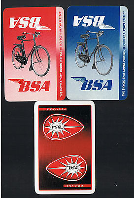 Playing Swap Cards 3  VINT B S A  BICYCLE & MOTOR CYCLE  ADVERTS  36WW   MINT