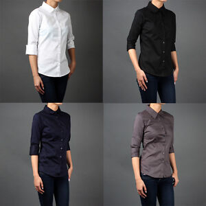 Women-3-4-Sleeve-Career-Office-Skinny-Fit-Button-Down-Shirts-Blouse-sz-S-M-L